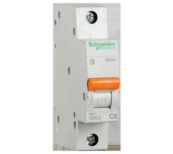 SCHNEIDER ELECTRIC - Автоматичен прекъсвач E60N+ 1P 6A крива C 6kA 20431