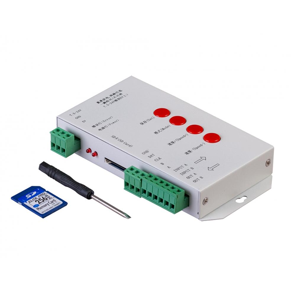 ULTRALUX - SDC1T Универсален контролер за дигитално светодиодно осветление с SD-карта, 1 порт, 5-24V DC