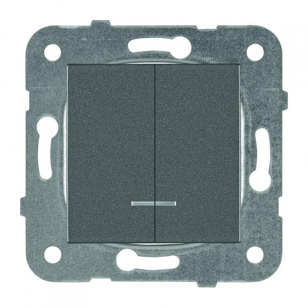 PANASONIC - Ключ сериен светещ Panasonic Kare тъмносив WKTT00102DG‐EU1
