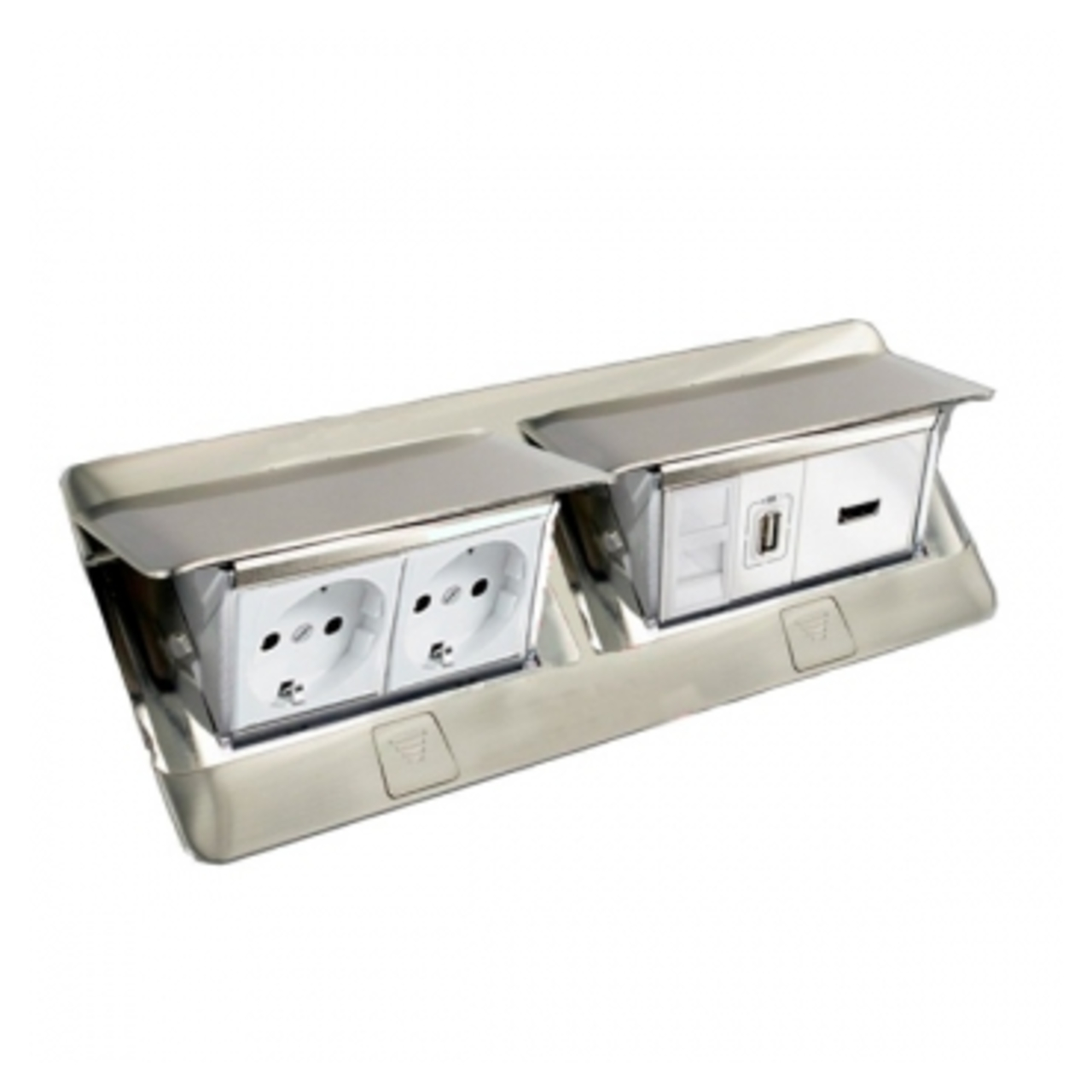 Legrand 8 Module Pop Up Floor Box Brushed Stainless