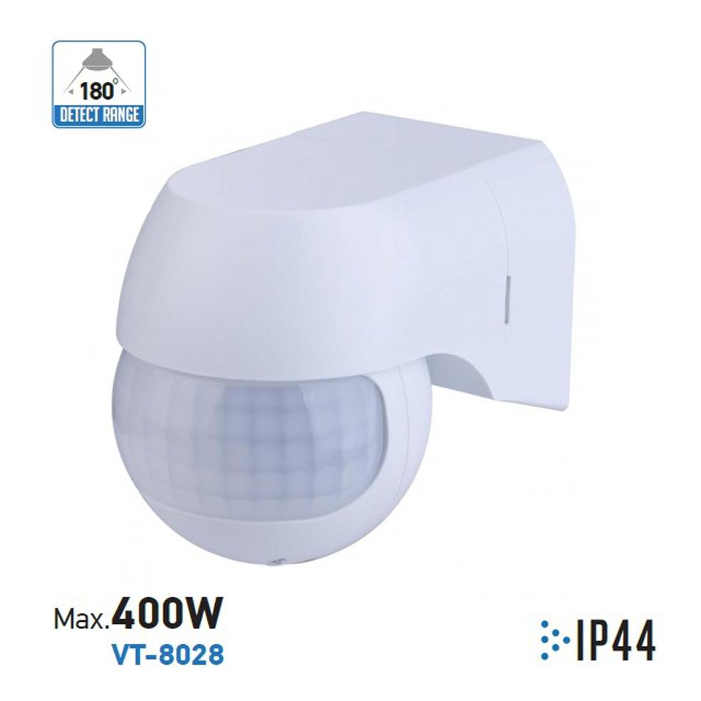 V-TAC - Сензор За Движение Стена Въртяща Глава Бял IP44 влагозащитен  SKU 5088 VT-8028