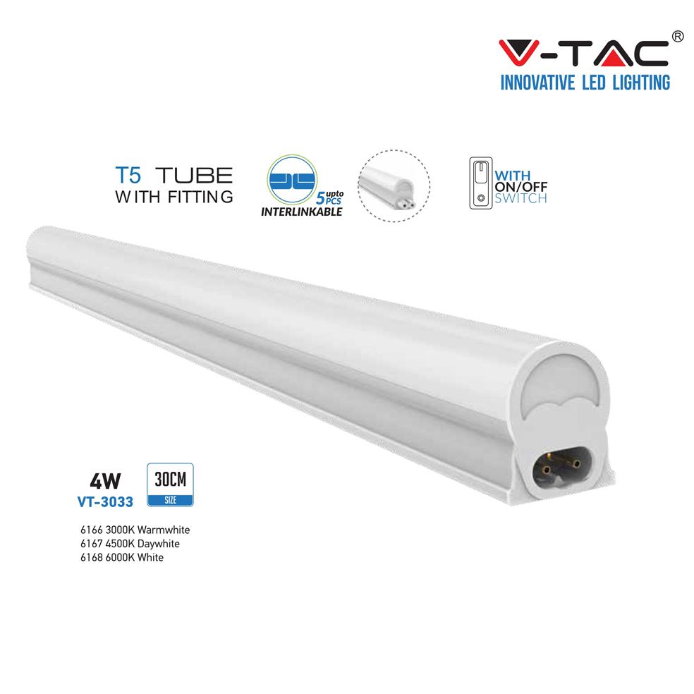 V-TAC - T5 4W 30см LED Тяло Топло Бяла Светлина SKU: 6166 VT-3033, 4500K 6167, 6000K 6168
