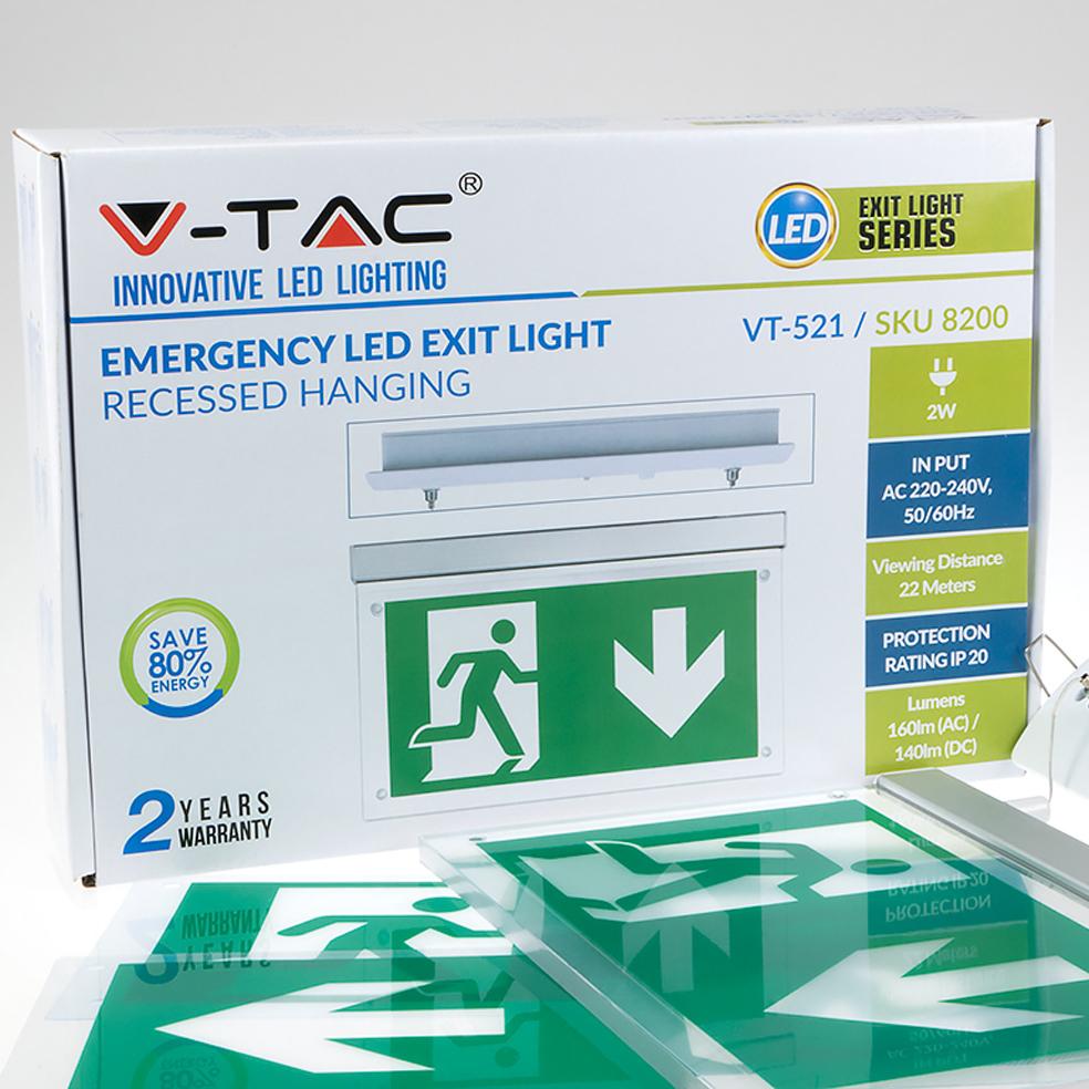 V Tac 16 Leds Recessed Hanging Emergency Led Exit Light