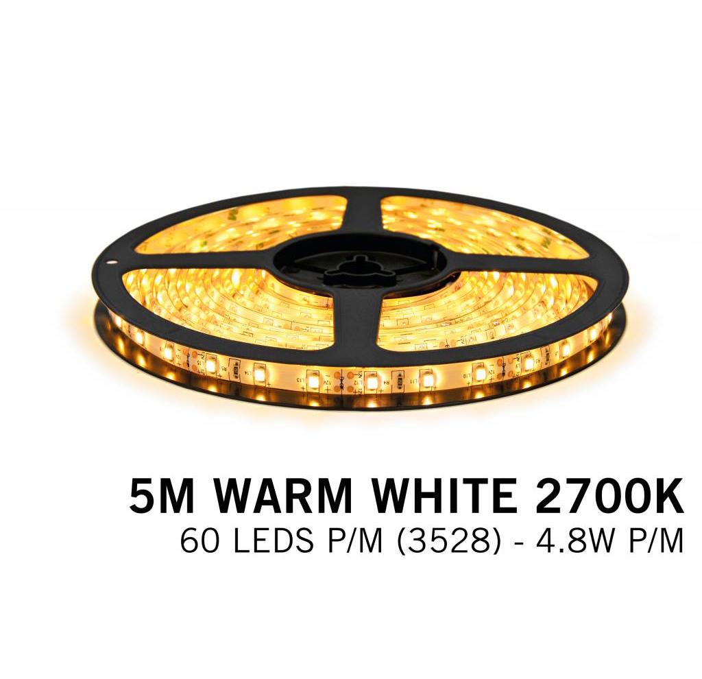 ULTRALUX - LSW352860WW LED ЛЕНТА 4.8W/M ТОПЛО БЯЛА ВОДОУСТОЙЧИВА IP65, 12V DC, 60 LEDS/M, 5M,