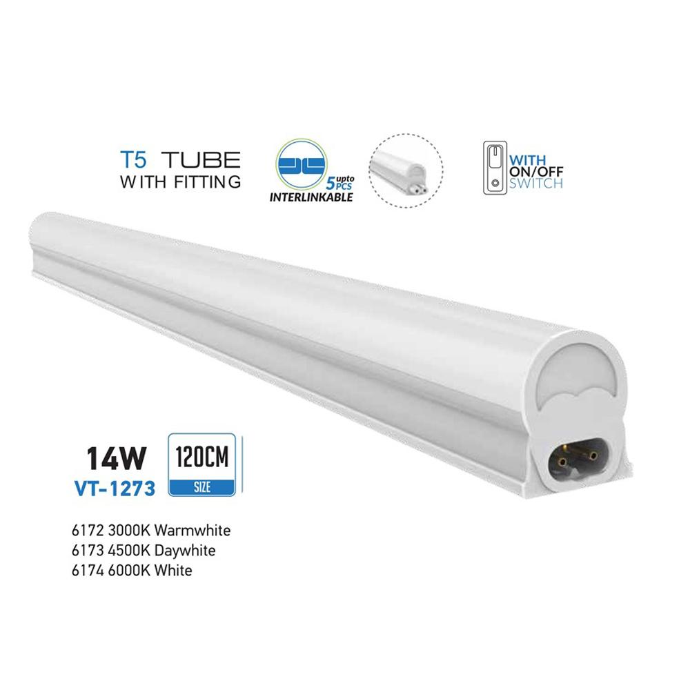 V-TAC - T5 14W 120см LED Тяло Топло Бяла Светлина SKU: 6172 VT-1273, 4500K 6173, 6000K 6174
