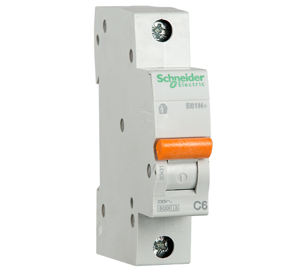 SCHNEIDER ELECTRIC - Автоматичен прекъсвач E60N+ 1P 10A крива C 6kA 20432