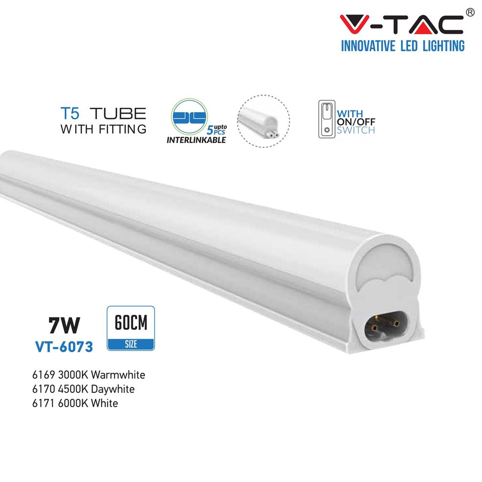 V-TAC - T5 7W 60см LED Тяло Топло Бяла Светлина SKU: 6169 VT-6073, 4500K 6170, 6000K 6171