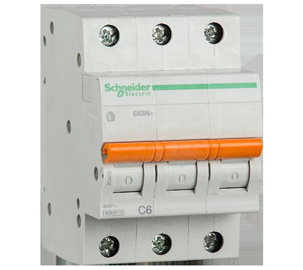 SCHNEIDER ELECTRIC - Автоматичен прекъсвач E60N+ 3P 10A крива C 6kA 20457