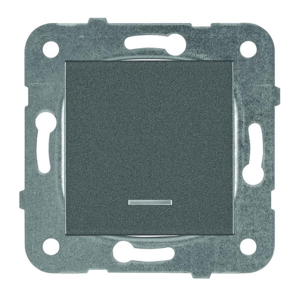PANASONIC - Ключ единичен светещ Panasonic Kare тъмносив WKTT00022DG‐EU1