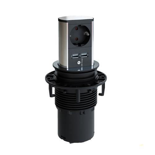 BACHMANN - B928.017 Модул ELEVATOR 2хUSB 5.2V/2.15A зареждане+ контакт тип шуко с детска защита черен
