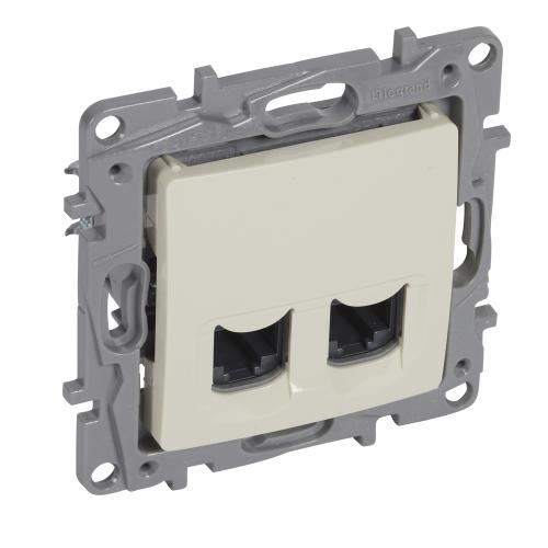 LEGRAND - 7 646 74 2xRJ 45 Cat.6 UTP socket Niloé - 9-contact - ivory