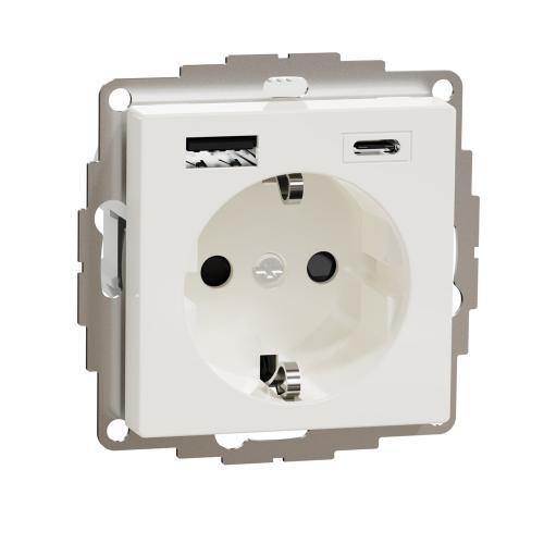 SCHNEIDER ELECTRIC - MTN2367-0319 КОНТАКТ С USB А+С полярно бяло System M