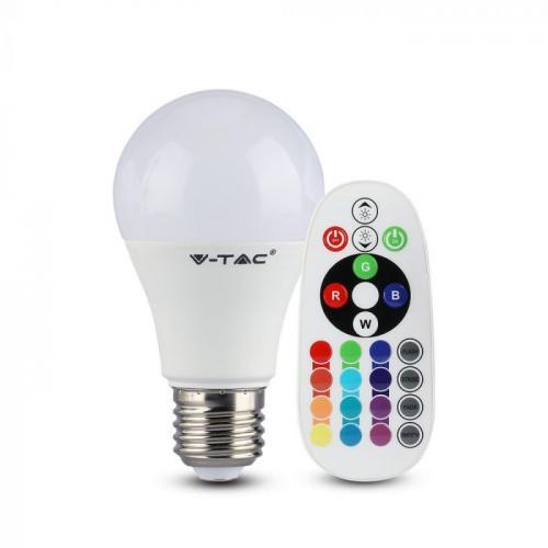 V-TAC - LED Bulb 9W E27 A60 RA80 RGB 4000K SKU: 2767 VT-2229