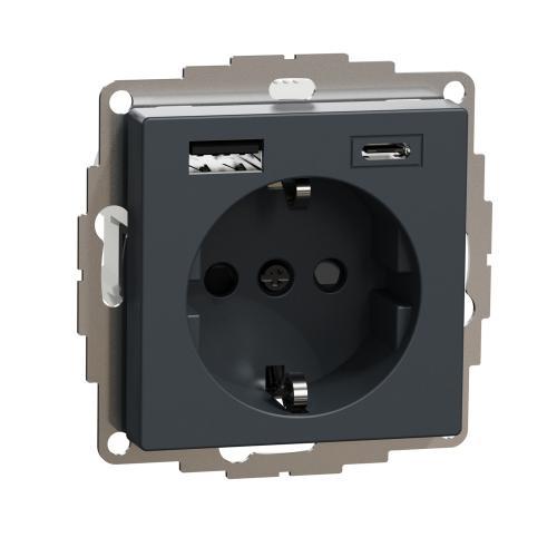 SCHNEIDER ELECTRIC - MTN2367-0414 Механизъм контакт шуко 16A + USB A+C 3A 15W с лицев панел антрацит System M