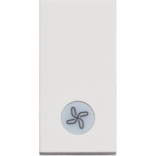 BTICINO - RW4001LR Еднополюсен ключ 10А с LED индикация и символ вентилатор Classia бял