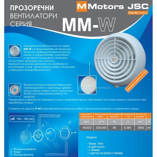 MMOTORS - Прозоречен вентилатор MMW -THCS inox с датчик за влага