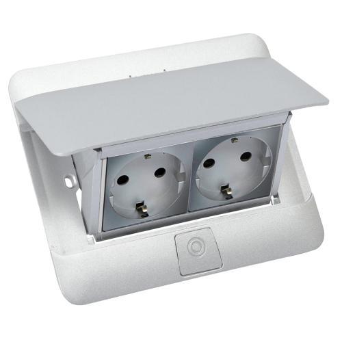 LEGRAND - 654014 Подова кутия 4 модула матиран алуминий (Matt aluminium) с включен монтажен кит+ 2 броя контакти 79213