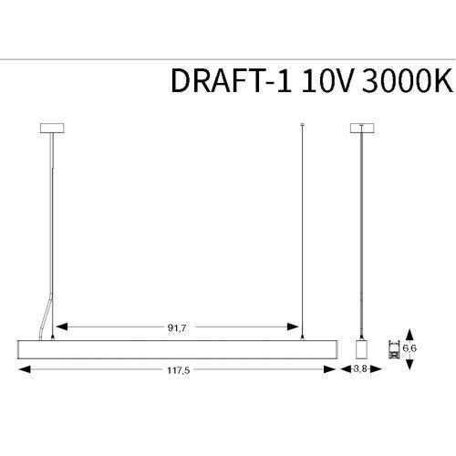 IDEAL LUX - LED линейно тяло DRAFT-1  10V, 50W, 3000K WHITE 215440