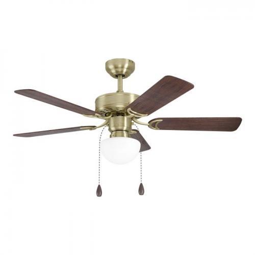 EGLO - Вентилатор със осветление AC 55W  Ø1070/461+E27 никел мат осн./дъб/орех CADIZ 35075