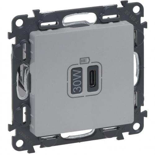 LEGRAND - Розетка USB за зареждане тип C Power Delivery 30W цвят Алуминий Valena Life Legrand 753355