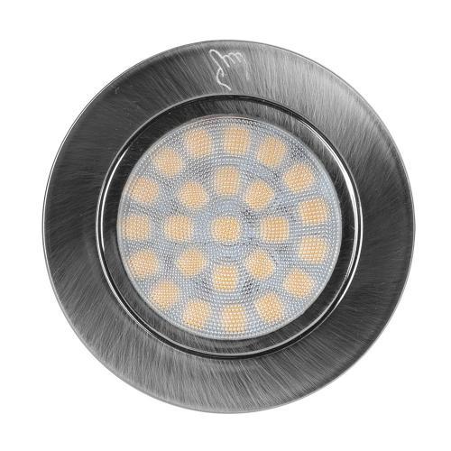 ULTRALUX - LML12242SN Мебелна TOUCH светодиодна луна за вграждане, кръг 2W, 4200K, 12V DC, IP44, сатиниран никел