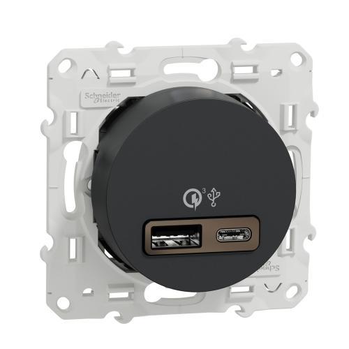 SCHNEIDER ELECTRIC - S540219 USB двойно A+C зарядно устройство Odace антрацит