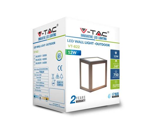 V-TAC -  12W LED Стенна Лампа 4000К Сиво тяло SKU: 8338, 3000К-8337, 6400K-8339 VT-822