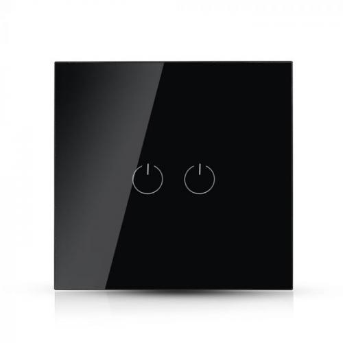 V-TAC - Двоен Ключ Touch Черен Стъкло SKU: 8387 VT-5112