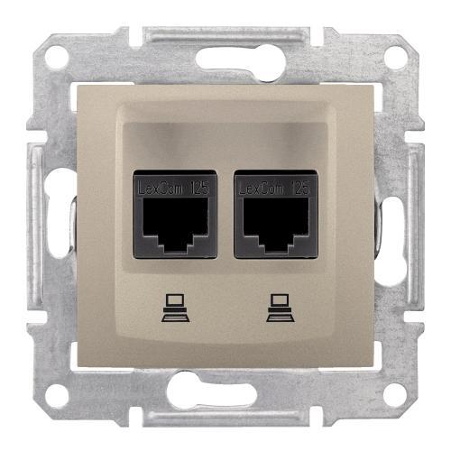 SCHNEIDER ELECTRIC - SDN4800168 Информационна розетка 2xRJ45 кат.6 UTP Sedna, 16А, титаний