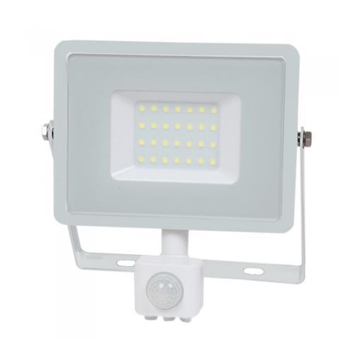 V-TAC PRO - 30W LED Прожектор Сензор SAMSUNG ЧИП Бяло Тяло 3000К SKU: 457, 4000К SKU: 458, 6400К SKU: 459 VT-30-S