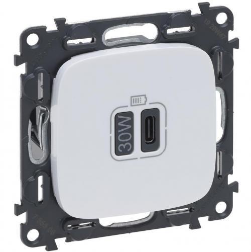 LEGRAND - Розетка USB за зареждане тип C Power Delivery 30W цвят Бял Valena Allure (комплект с механизъм) Legrand 755506