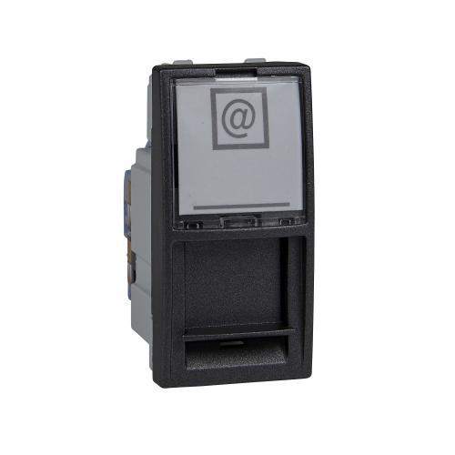 SCHNEIDER ELECTRIC - MGU3.414.12 Unica информационна розетка Rj45 UTP кат.6 за компютър графит 1m