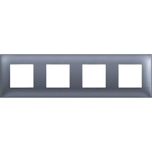 BTICINO - R4802M4LM cover plate - 2+2+2+2 horizontal/vertical installation modules - Blue metal