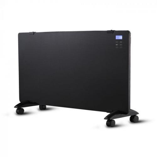 V-TAC - Конвектор 2000W стъклен черен панел с дисплей и дистанционно SKU: 8664 VT-2000WRD