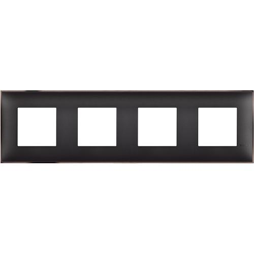 BTICINO - R4802M4BH cover plate - 2+2+2+2 horizontal/vertical installation modules - Black nickel