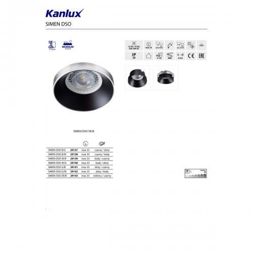 KANLUX - Луна бял/черен SIMEN DSO W/B (29139)