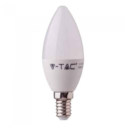 V-TAC - LED Bulb 5.5W E14 C37 Candle 4000K CRI95+ SKU: 7495 | VT: VT-2226, 2700К-7494, 6400К-7496