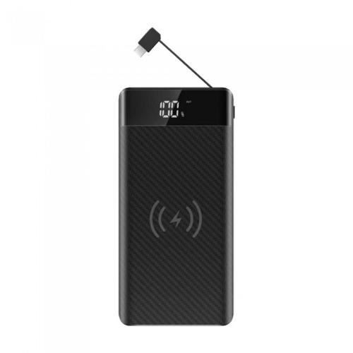 V-TAC -  20000mAh Power Bank with Wireless Charger & Built In Micro USB Cable Black SKU: 8859 VT-3058