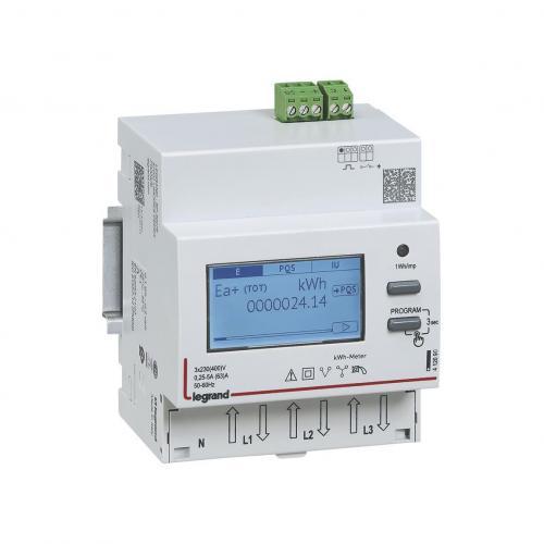 LEGRAND - Трифазен електромер ДИРЕКТНО мерене на ел енергия EMDX3, импулсен изход, еднотарифен, DIN монтаж 4 мод, 63A MID Legrand 412092