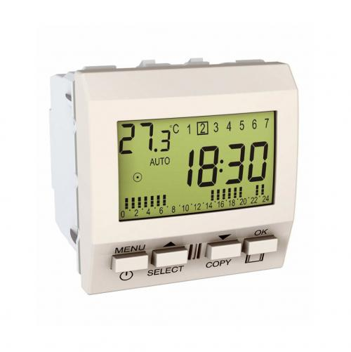 SCHNEIDER ELECTRIC - MGU3.545.18 Unica - wake up clock - mechanism - 230 VAC - 2 m - ivory