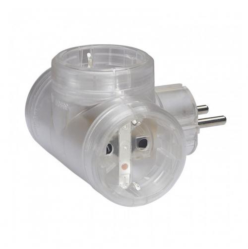 LEGRAND - 50663 Адаптер 3 гнезда T-образен за контакт тип шуко /прозрачен/