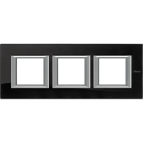 BTICINO - HA4802M3HVNB Тройна рамка 3х2М Nighter стъкло правоъгълна Axolute