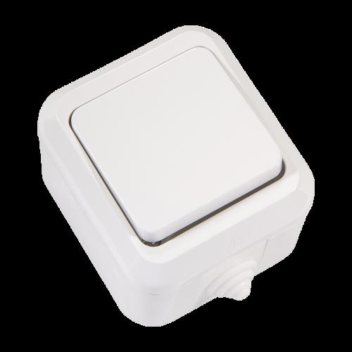 MAKEL - Влагозащитен ключ единичен сх. 1 бял IP44 8300