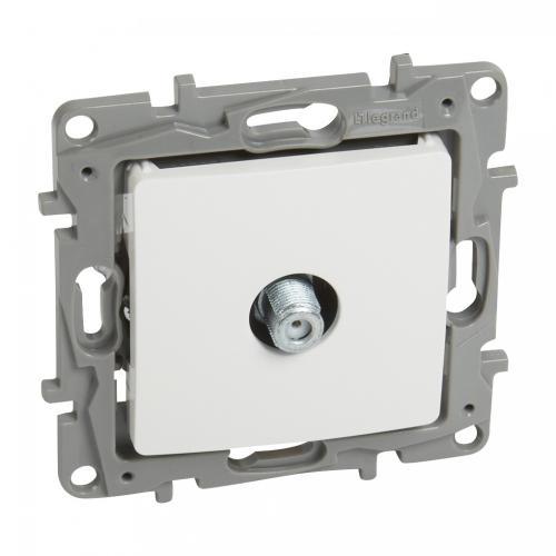 LEGRAND - Розетка TV тип F конектор 1dB цвят Бял Nilo 764550
