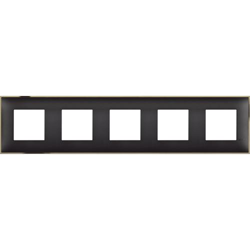 BTICINO - R4802M5BD cover plate - 2+2+2+2+2 horizontal/vertical installation modules - Black gold