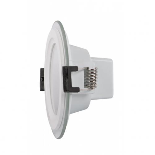 ULTRALUX - LPRG1242 LED стъклен панел за вграждане, кръг, 12W, 4200K, 220V AC, неутрална светлина, влагозащитен IP44, SMD2835