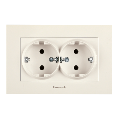 PANASONIC - Двоен контакт шуко Panasonic Kare крем WKTC02052BG‐EU1
