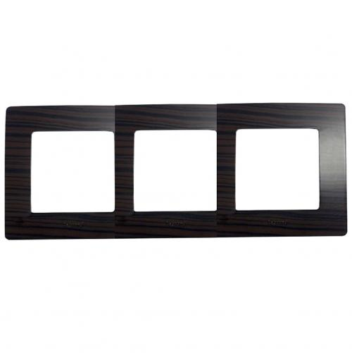 LEGRAND - 3 970 93 Plate Niloé - 3 gang - dark wood