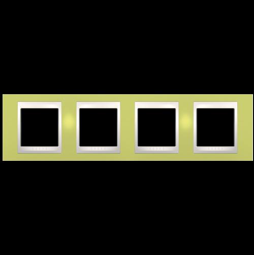SCHNEIDER ELECTRIC - MGU6.008.563 рамка Unica Plus четворна ябълково зелен/слонова кост