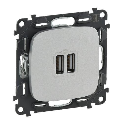 LEGRAND - 754997 Двоен USB контакт 1500мА за зареждане 5V Valena Allure алуминий /комплект с механизъм/